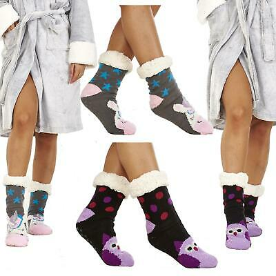 Ladies Slipper Socks With Ant-Slip Grippers Lounge Cosy Chunky Unicorn Size 4-8 • 6.99£
