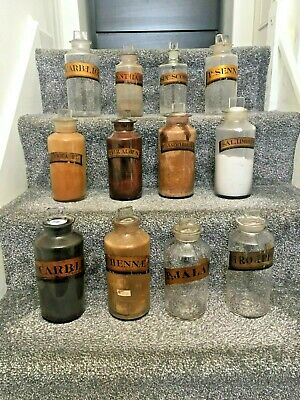 Large Collection Of Gold Label Glass Chemist Apothecary Display Jars / Bottles  • 70£