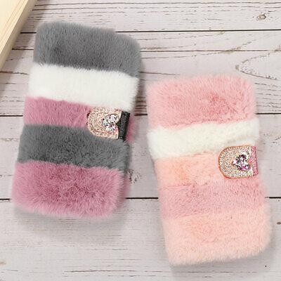 For IPhone 11 Pro Max XR 7 8 Flip Plush Fluffy Soft Faux Fur Wallet Case Cover • 7.99£