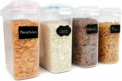 £16.99 • Buy 4 Cereal Containers Airtight Food Storage Dry Food Containers Dispenser Kitchen