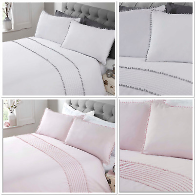 Rapport  Pom Pom  Trim Duvet Cover Bedding Set White/Grey Or Blush Pink • 20.99£