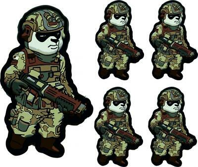 $6.94 • Buy 5 X Tactical Panda Weather Proof Vinyl Decals Stickers Military Airsoft