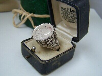 £149.99 • Buy Vintage Sterling Silver Greek 1926 Coin Lepta Pinky Intaglio Signet Ring Size Q