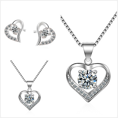£9.99 • Buy UK Sterling Silver Jewellery Set Made Of Swarovski Elements Gift Boxed