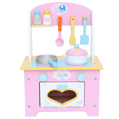 Wooden Play Kitchen Large Childrens Toy Kids Play Set Cooking Role Pretend Pink • 30.11£