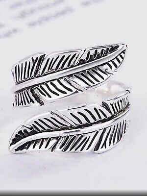 925 Silver Feather Memory Love Chunky Adjustable Ring Jewellery Present Gift  • 11.50£