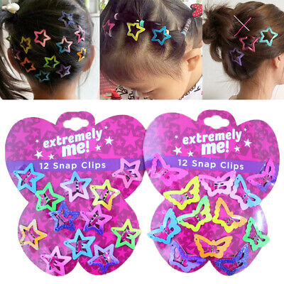 $0.99 • Buy 12pcs Star Butterfly Hair Clips Snaps For Girls Baby Kids Accessories 1 Set