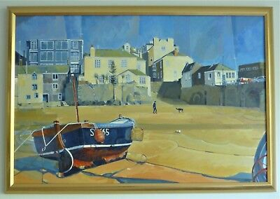 Boat At St. Ives, Cornwall. Framed Acrylic Painting On Canvas. • 140£