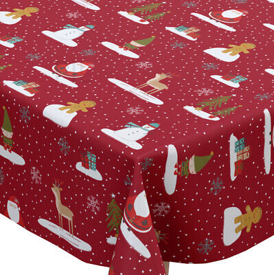 Fryetts Christmas Cool Yule Red Cotton PVC Fabric WIPE CLEAN Tablecloth Oilcloth • 7.50£