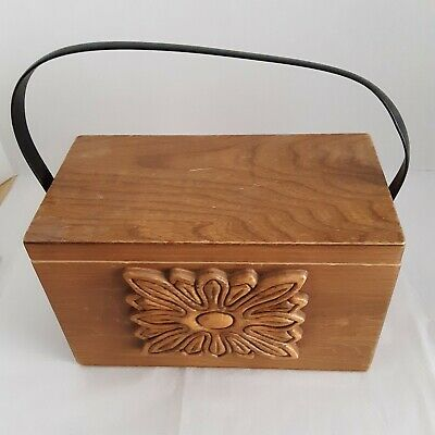 $22.40 • Buy Collins Of Texas Wood Box Bag With Wood Carving On The Front