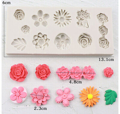 Silicone Flower Lace Fondant Mould Cake Rose Leaves Decorating Baking Icing Mold • 3.99£