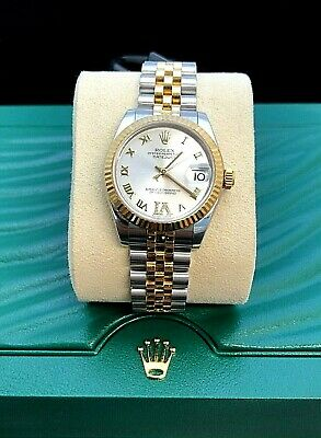 $ CDN13169.69 • Buy Rolex Lady Datejust 18k Gold/Steel Roman Numeral Diamond Silver Dial Box/Papers