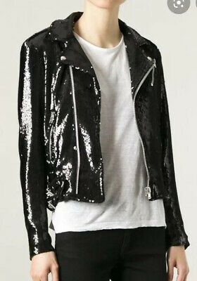 $ CDN393.01 • Buy IRO HELENY SEQUIN BIKER JACKET SIZE 38 Small Embellished Black Motorcycle Moto
