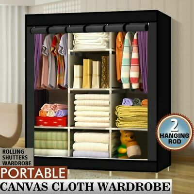 AU39.98 • Buy Large Space Storage Portable Bedroom Double Wardrobe Stable Easy Assemble