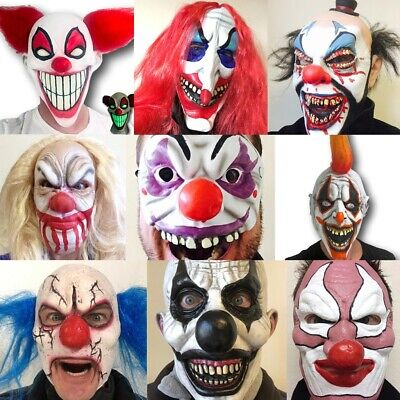 Scary Clown Mask With Hair Evil Halloween Fancy Dress Kids Adult Cosplay Props • 9.97£