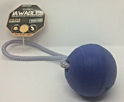 DOG TOYS,DOG FETCH TOY. DOG BALL ON A ROPE.  ANCOL,JAWABLES, 27cm Circumference • 6.99£