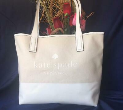 $ CDN133.33 • Buy NWT AUTH $279 Kate Spade ASK Street Logo Triple Compartment Natural Tote Bag