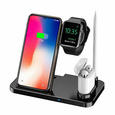 $ CDN27.47 • Buy Qi Wireless 4-in-1 Fast Charger Charging Station For Apple Watch IPhone X Xs 8