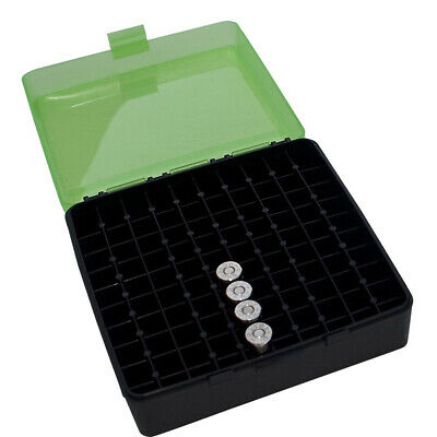AU15.98 • Buy Mtm Pistol 100 Rnds Ammo Box Flip Top 380/9Mm Cal Clear Green #p-100-9-16T P-100