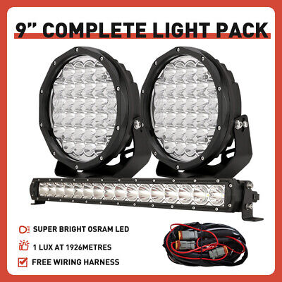 AU158.99 • Buy OSRAM Pair 9inch LED Driving Spot Lights + 22inch Slim LED Light Bar Combo Black