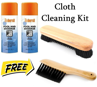 £13.99 • Buy POOL BILLIARDS SNOOKER TABLE CLOTH CLEANING KIT Ambersil Cloth Cleaner + BRUSHES