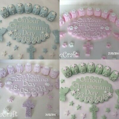 Christening Baptism Custommade Plaque Edible Handmade Cake Decorations Toppers • 11.99£