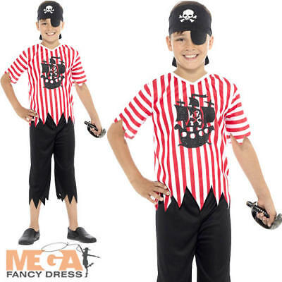Jolly Pirate Boys Fancy Dress World Book Day Childrens Kids Halloween Costume • 7.99£