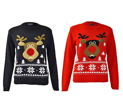 Unisex Kids Boys Girls Christmas Rudolph Jumper Xmas Novelty Pullover Sweater • 7.90£