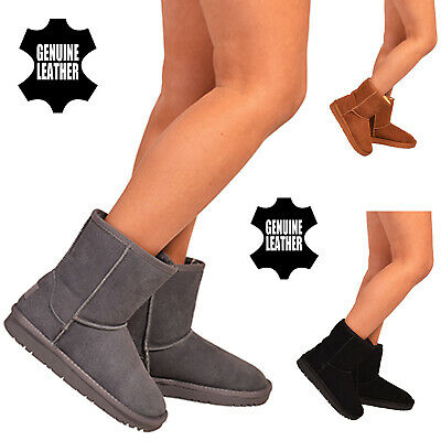 Womens Genuine Real Sheepskin Suede Winter Warm Fur Snow Boots Mid Calf Shoes SZ • 19.95£