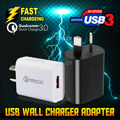 AU7.45 • Buy Qualcomm Quick Charge QC 3.0 Universal Super Fast USB Wall Charger 18W AU Plug