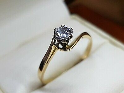 AU699 • Buy Genuine 18ct 18k Gold And Solitaire Diamond Ring + Valuation Cert - 7 1/2 Or O