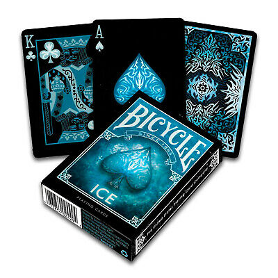 Bicycle ICE Playing Cards Standard Poker Glacial USPCC 1 Deck Black Blue USA • 4.68£