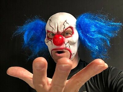 £9.97 • Buy Scary Evil Clown Mask Open Mouth Blue Hair Halloween Horror Costume Accessory IT