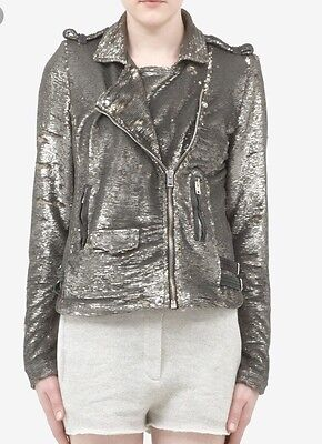 $ CDN260.68 • Buy Iro Derick Sequin Motorcycle Jacket Rare New Size 2 Silver Metallic Leather Moto