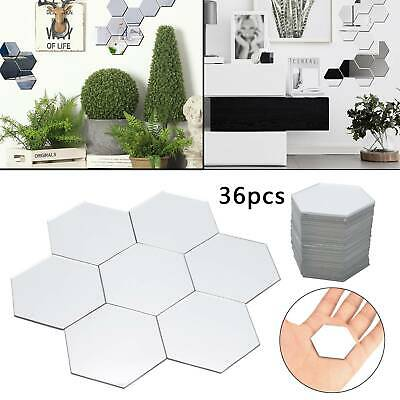 36P Acrylic 3D Mirror Effect Tile Wall Sticker Room Decor Stick On Art Bathroom  • 3.59£