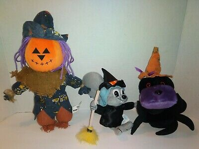 $ CDN10.57 • Buy Lot Of 3 Vintage Halloween Plush Stuffed Animals Scarecrow JOL Spider Witch
