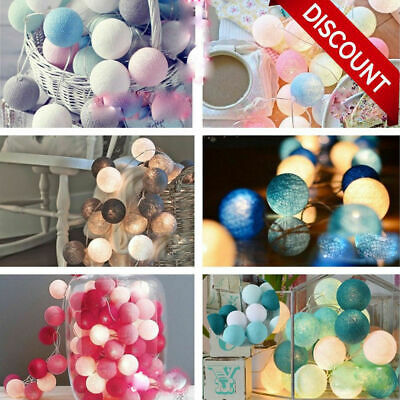 20 LED Globe Garland Cotton Ball String Fairy Lights Christmas Decorate UK Plug • 7.49£