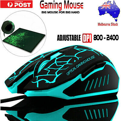 AU18.99 • Buy 6 Button 2400 DPI LED Wired USB Ergonomic Optical Gaming Mouse For PC Laptop AU