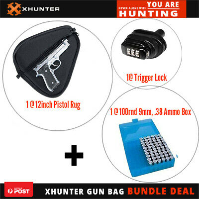 AU24.44 • Buy Xhunter 12  Pistol Rug Bag|Combination Trigger Lock|100Rnd 9Mm .38Cal Ammo Box