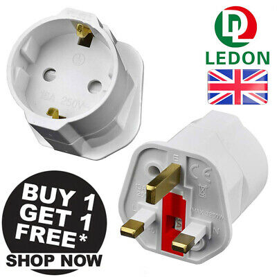 2Pcs EU Euro 2 Pin To UK 3 Pin Plug Universal Adapter Travel Converter European • 6.35£
