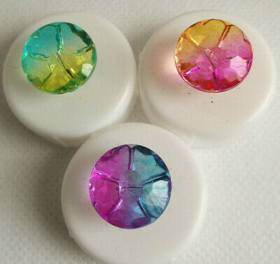 £2.95 • Buy Glass Effect Ombre Flower Shank Shaped Buttons Two Hole 15mm Shape (NEW)