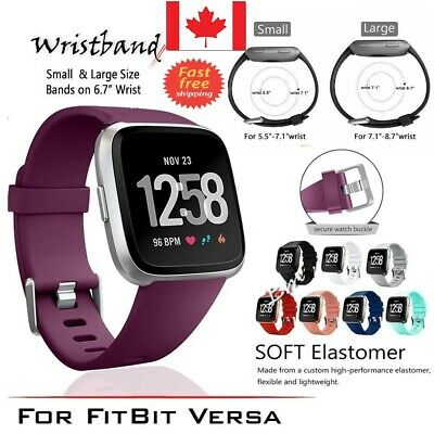 $ CDN8.50 • Buy Replacement Silicone Band Wrist Strap For Fitbit Versa Band Large Small 5 Colour