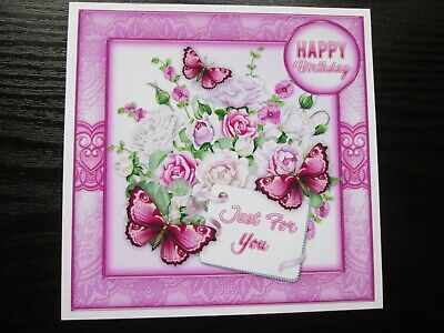 2 X JUST FOR YOU HAPPY BIRTHDAY FLORAL Card Toppers   • 1.20£