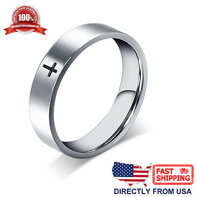 $7.97 • Buy Stainless Steel Cross Ring Polished Comfort Fit Men's & Women's Wedding Band