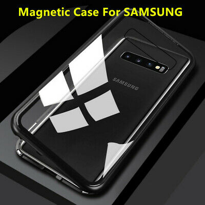 AU9.45 • Buy SAMSUNG S10 S9 S9+S8 NOTE 8 NOTE 9 Magnetic Metal Frame Back Tempered Glass Case