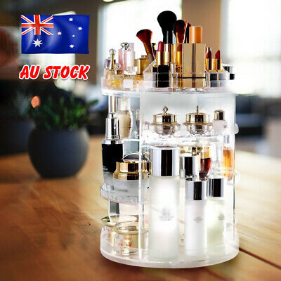 AU31.95 • Buy 360° Rotating Acrylic Makeup Organiser Storage Cosmetics Stand Holder Box Gift