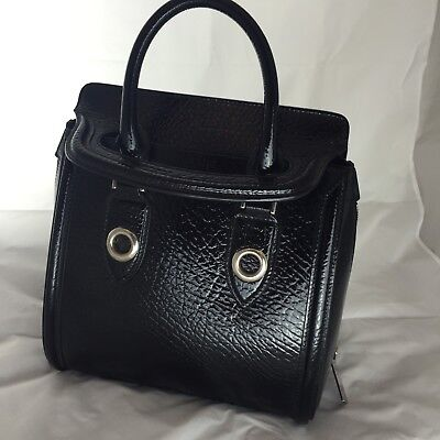 AU1499.39 • Buy Alexander McQueen Black Medium Heroin Thick Leather Bag Sleeve Finish Rare $3K+