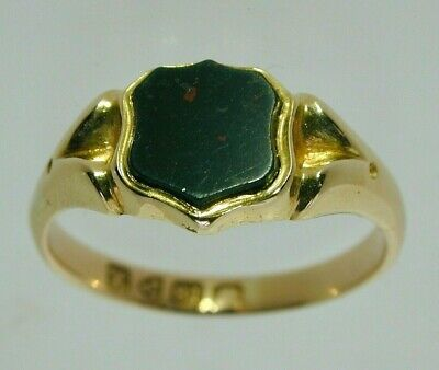 £395 • Buy Victorian Bloodstone & 18 Carat Yellow Gold Shield Signet Ring Size O 1/2 1901