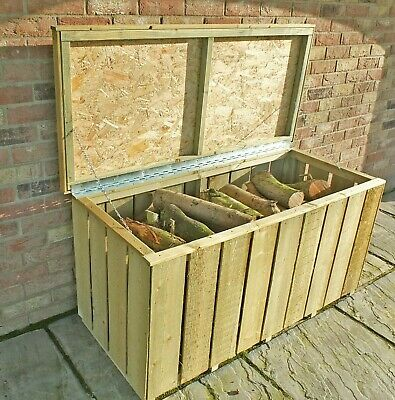 Log Store Tidy Storage Firewood Chest Box Store Wooden Timber Wood Sawn Logs  • 84.94£