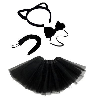 Black Cat Fancy Dress Costume (Ears Tail Bow Tie & Tutu) Accessory Set Animal • 5.95£